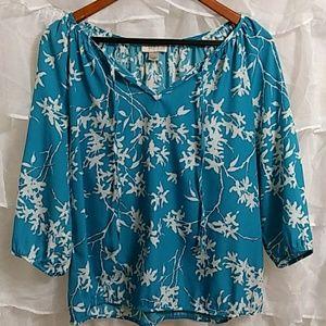 LOFT 3/4 Sleeve Floral Blouse Q24